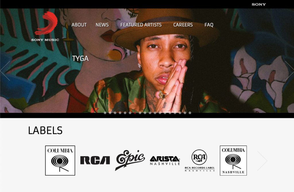 Sony Music WordPress-verkkosivut