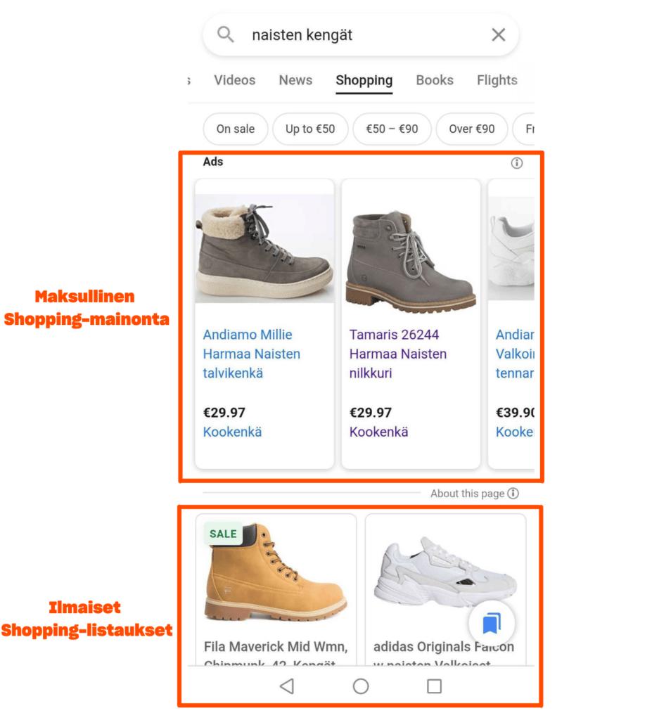 kuvituskuva google shoppingista